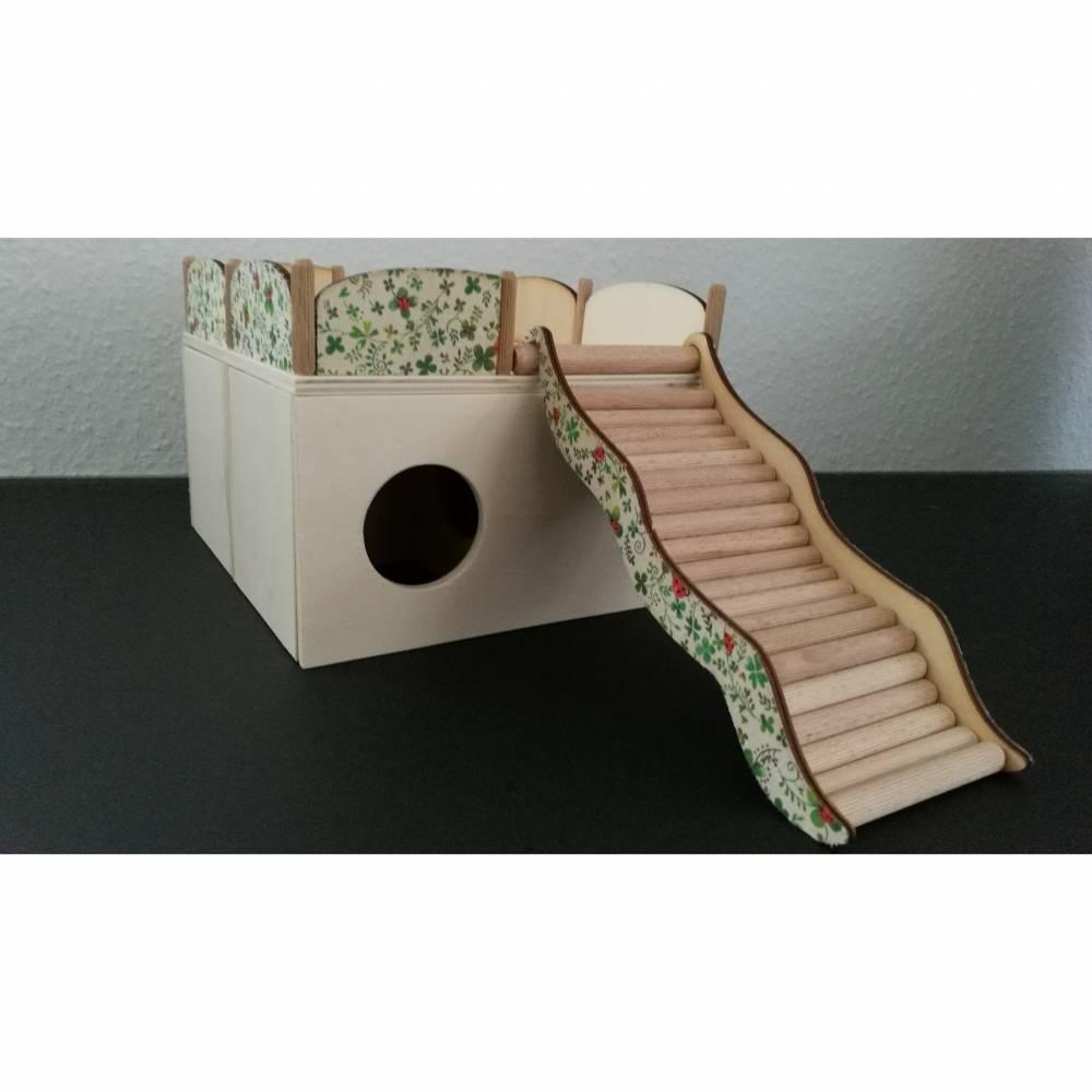 4-Kammer-Häuschen Elsa mit Treppe & Geländer für Hamster und Mäuse Bild 1