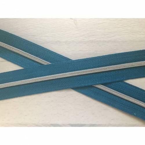 Metallisierter Endlosreißverschluss schmal petrol - Spirale silber