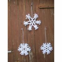 Schneeflocken , Makramee Weihnachten ,Weihnachtsschmuck , Boho Baumschmuck ,Weihnachtsgeschenk,Weihnachtsdeko, Bild 1
