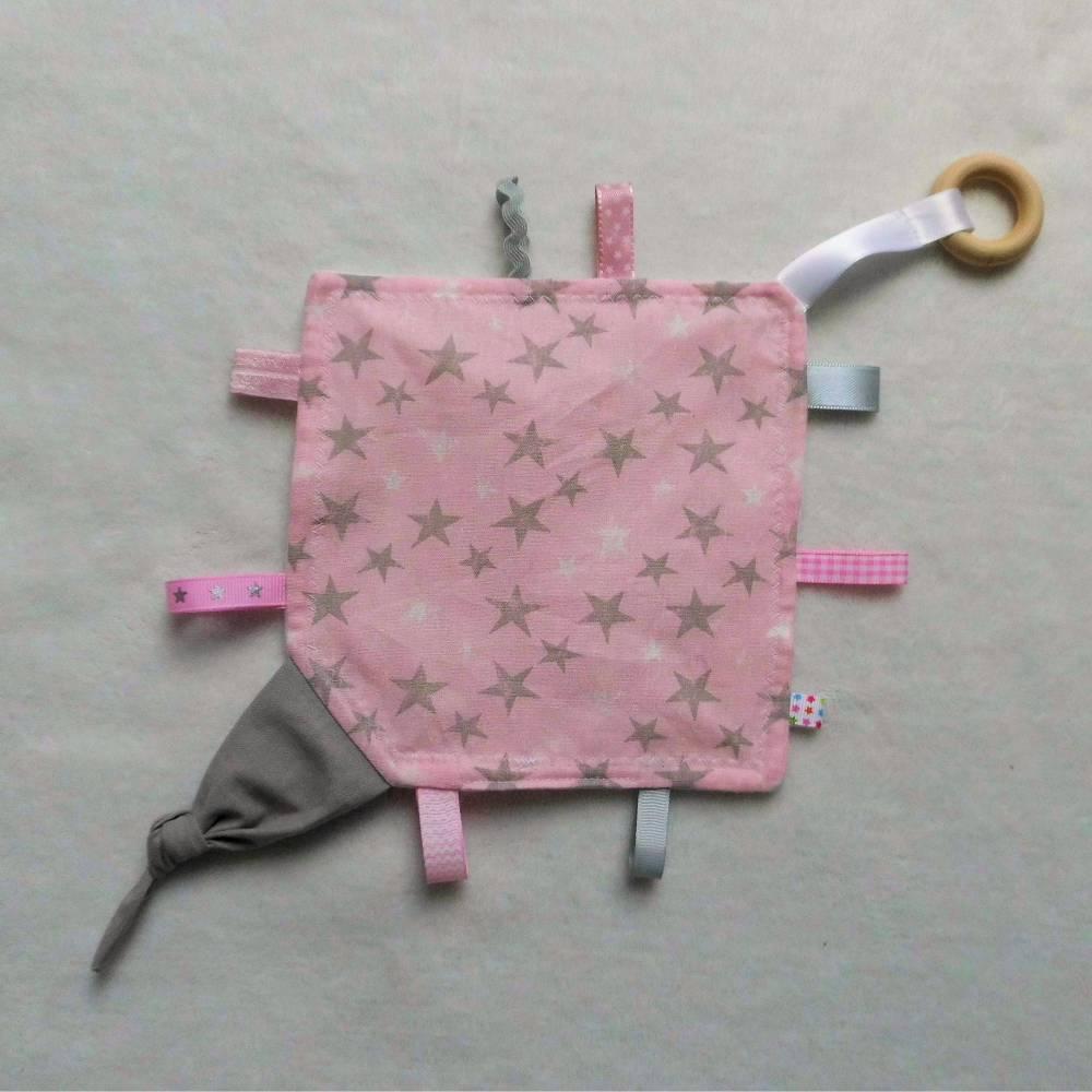 Knistertuch & Beißring - Graue und Weiße Sterne (Rosa) Bild 1
