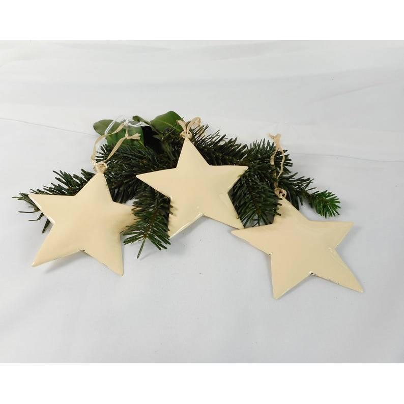 Weihnachtsdeko 3er Set, Stern, Hänger, vanille, Fensterdeko Weihnachten, Deko für Weihnachten, Material Bild 1