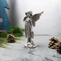 Weihnachtsdeko Engel in grau, Tischdeko Weihnachten, Engel, Elfe, Material Bild 1