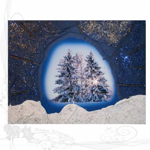 Handgemachtes Winterbild auf Holz *Drei Tannen im Allgäu 04*, keine Versandkosten