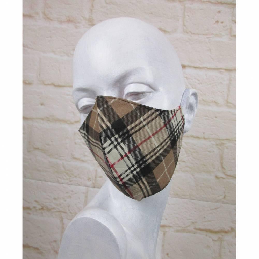 Weihnachten Mundmaske Staubmaske Gesichtsmaske Karo Schneeflocke Braun Rot Maske Baumwolle Behelfsmaske Wendemaske Bild 1