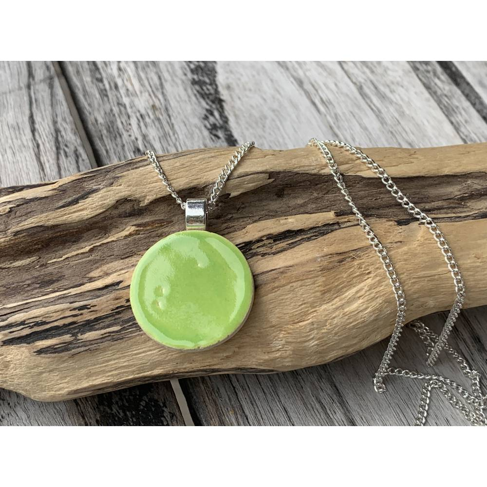 Keramik Anhänger Halskette  Keramikschmuck Kette Pure Apfel Grün Bild 1