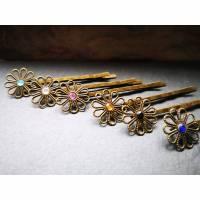 7 zauberhafte Haarklemmen im Vintage-Stil, buntes Blumen-Set Bild 1