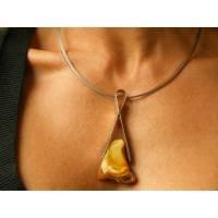 Bernstein-Pendant, matte Sterling Silber 925, Honig, Orange, echtem Bernstein, modernes Design, für sie, Geschenkbox, Ke Bild 1