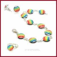 """Schmuckset """"Rainbow"""" Regenbogen Armband, Ohrringe und Ring mit Cabochon gestreift 10mm, versilbert Bild 1"""
