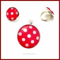 """Schmuckset """"Polka Dots"""" Kettenanhänger und Ring mit Cabochon 25mm rot-weiß gepunktet, versilbert, Rockabilly Bild 1"""