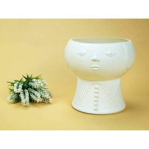 Vintage - Übertopf mit Fuß Kopf Blumentopf Bubikopf Gesicht Weiß Glas alt