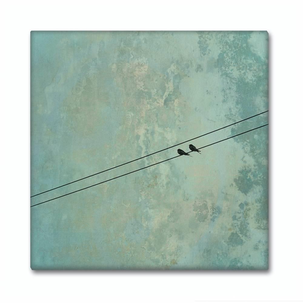 Leinwand Druck, Canvas, Leinwandbild, Vögel, Vogelpärchen auf der Stromleitung, grün, mintgrün, Geschenk, Wohndekoration Bild 1
