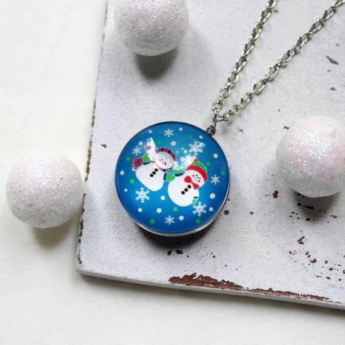 Schneemänner • Kette silber | Weihnachten | Halsschmuck | Geschenkidee Frau | Freundin | Schwester | Mama