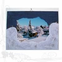 Handgemachtes 3D-Winterbild auf Holz * Tannen mit Hütte im Allgäu 01*, keine Versandkosten