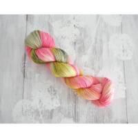 Sockenwolle  handgefärbt 4-fach Pink/Rosa/Grün/Gelb Wolle Bild 1