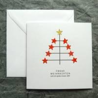 Minimalistische Weihnachtskarte - Sterne/Baum Bild 1