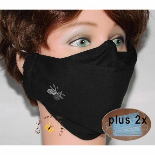 Klassisch schwarze Behelfsmasken waschbare Alltagsmasken Brillenträger Nasenbügel Filtertaschen Damen Herren Kinder