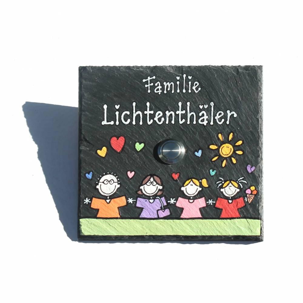 Klingelschild Schiefer mit Wunschfiguren und Wunschnamen handbemalt, Namensschild / Türschild mit Klingel Bild 1