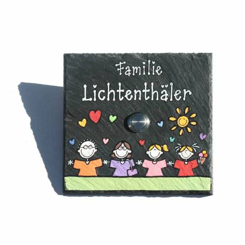 Klingelschild Schiefer mit Wunschfiguren und Wunschnamen handbemalt, Namensschild / Türschild mit Klingel
