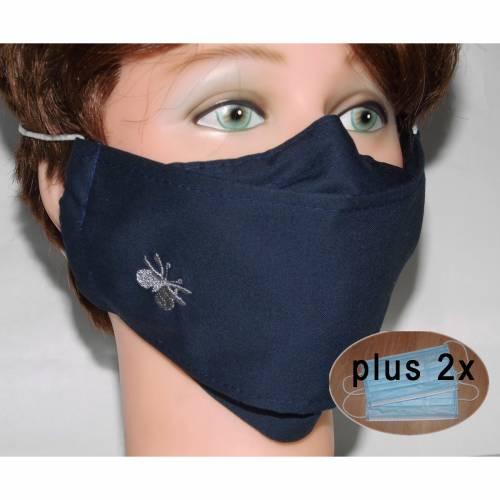 Große dunkelblaue Behelfsmasken waschbare Alltagsmasken XXL Brillenträger Nasenbügel Filtertaschen Damen Herren Kinder