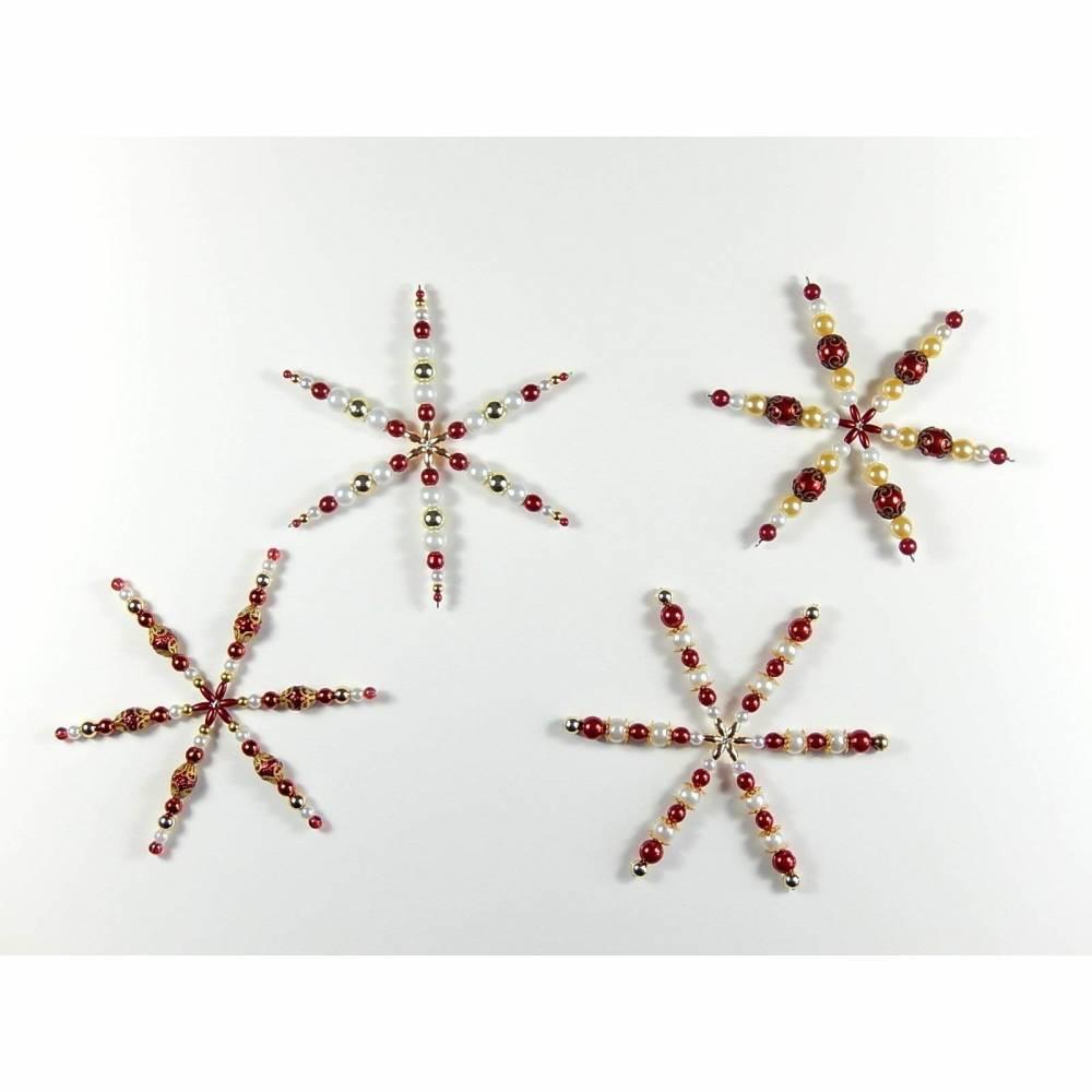 4 Perlensterne Sterne Weihnachtsdeko Geschenkanhänger Mitbringsel  Bild 1