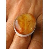 Bernstein-Ring, Ovale Form, orange gelb, Sterling Silber echten Bernstein, modernes Design, für sie, Geschenk-Box, neu,  Bild 1