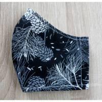 """Mund/Nasenmaske Herbst/Winterkollektion / doppellagig / waschbar / ergonomisch - """"Silberne Zapfen und Zweige"""" Bild 1"""