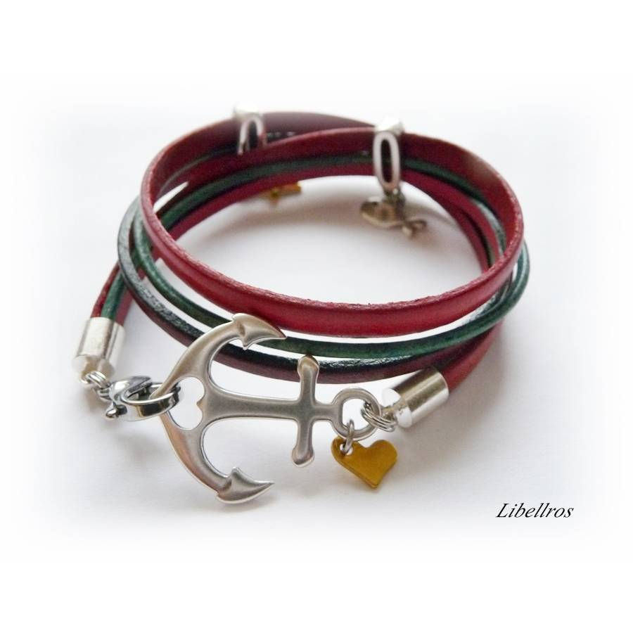 Wickelarmband aus Leder mit Anker,Fisch,Stern - Lederarmband - maritim,sportlich,edel - rot,grün,dunkelrot Bild 1