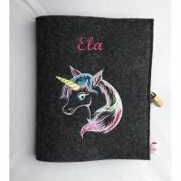 Personalisiertes Tagebuch mit Schloß aus Filz A5 Bild 1