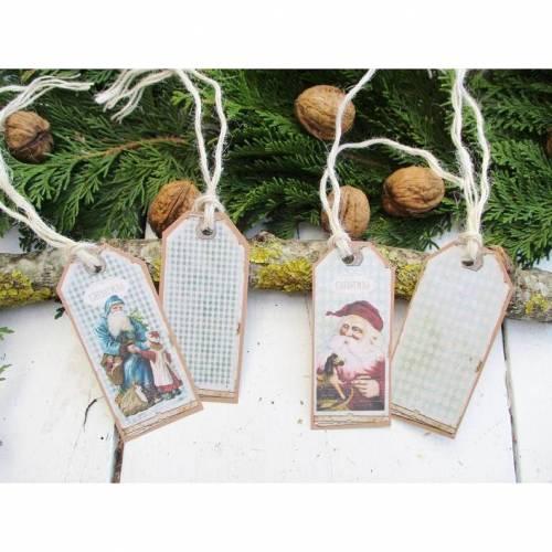 4 Geschenk-Anhänger , Weihnachten , Christmas ,Vintage Motive ,Deko Anhänger