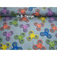 Baumwolljersey-Kinderstoff-bunte Handspinner auf grauen Grund, Ökotex 100 und waschbar bis 40°, breite 150cm Bild 1
