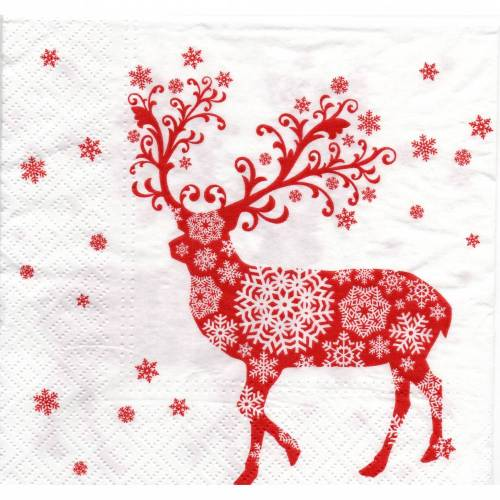 Weihnachten  5 Servietten / Motivservietten  Winter / Weihnachts Motive /  Hirsch rot - weiß  W 394