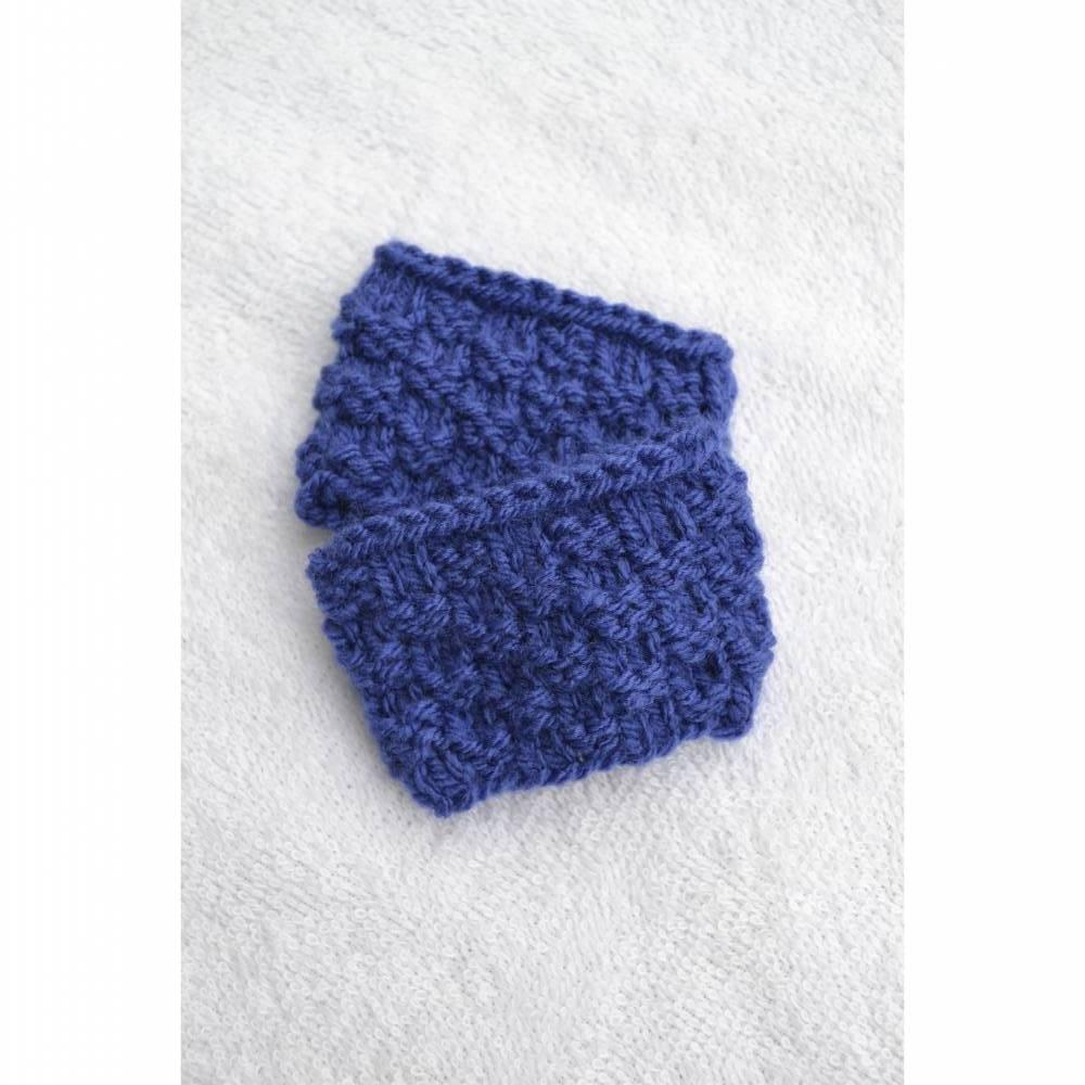 Pulswärmer Stulpen Baby Kinder blau mittelblau vegan handgestrickt 0-12 Monate Bild 1