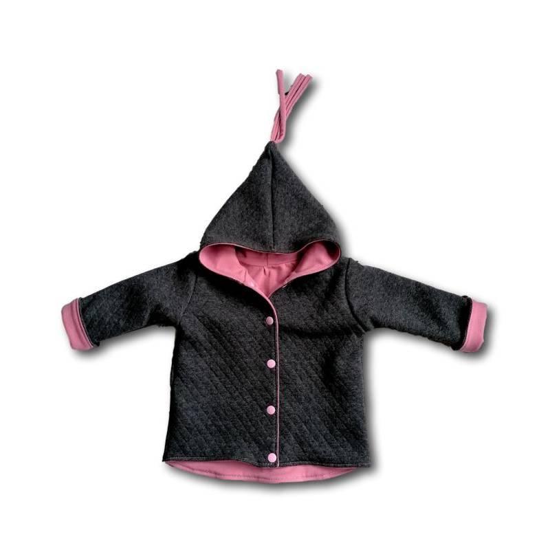 Babyjacke, Kinderjacke für den Übergang aus Steppfleece grau – altrosa Gr. 56 – 116 Bild 1