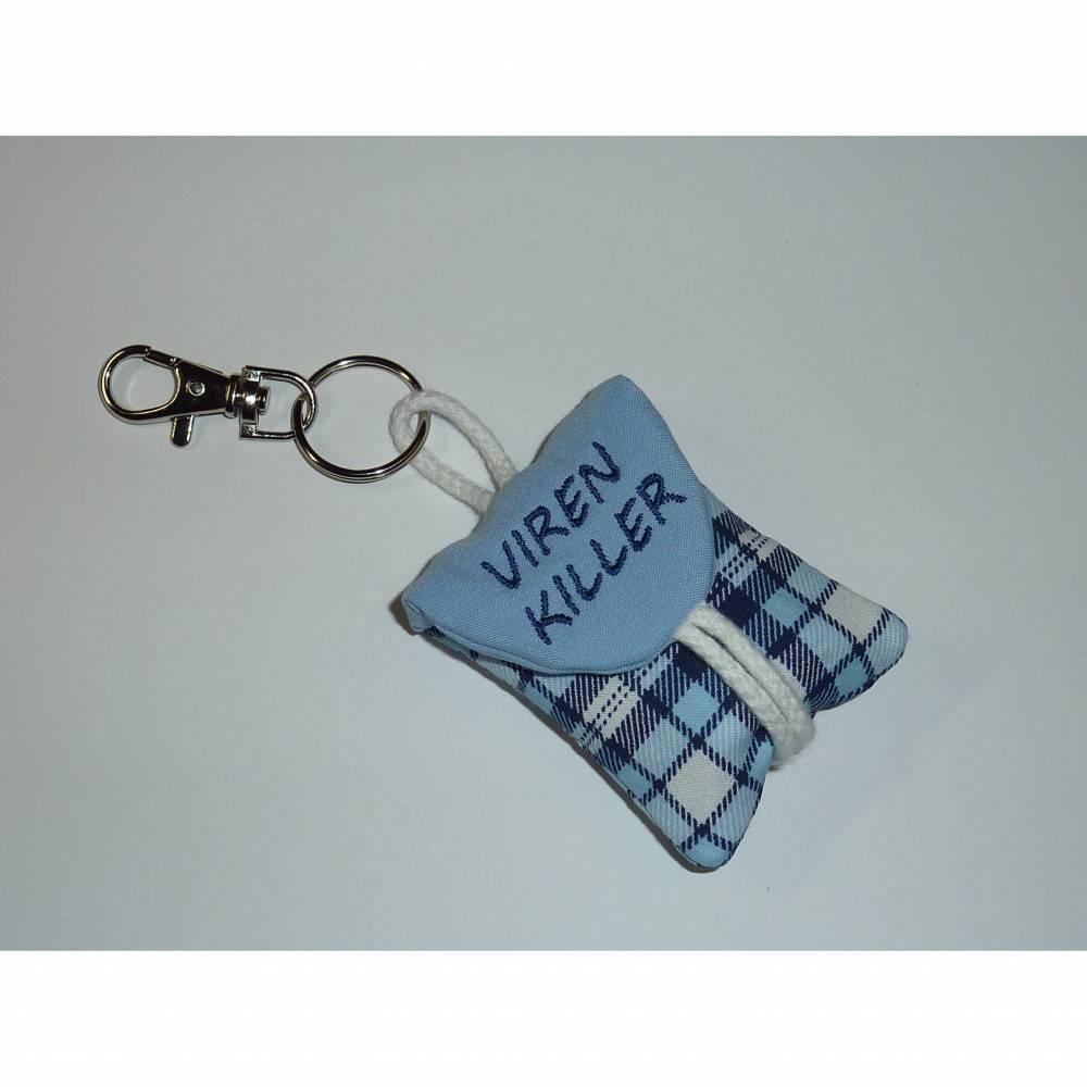 Seifentäschchen Schlüsselanhänger Seife Täschchen kariert blau Männer Bild 1