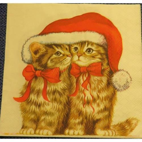 5 Servietten / Motivservietten  Winter / Weihnachten / Tiere / Katzen T 147