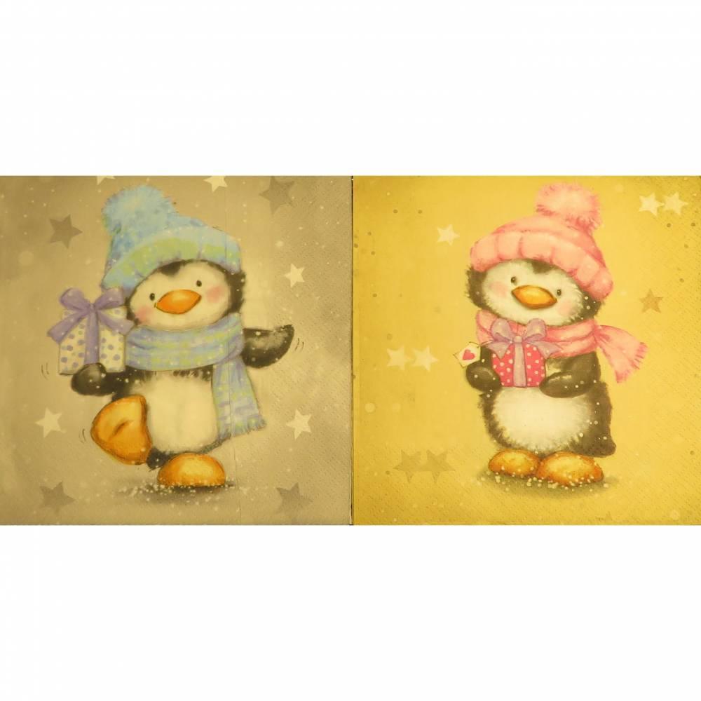 4 Servietten / Motivservietten  Winter / Weihnachten / Pinguine mit Weihnachtsgeschenken  P 36-37 Bild 1