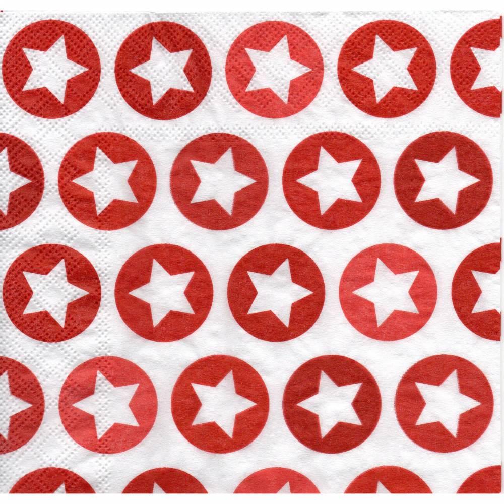 5 Servietten / Motivservietten  Winter / Weihnachts Motive /  Sterne  rot- weiß   W 370 Bild 1