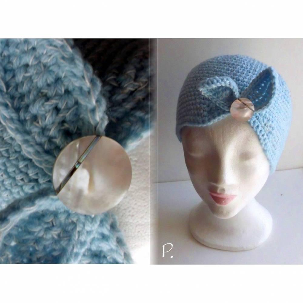 Kappe; HäkelKappe; Mütze im VintageLook / hellblau / Gr.: M Bild 1