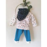 Babyhose mit Shirt, Mütze und Musselintuch, Winterhose, Kinderhose, Pullover für Babys,Halstuch, Schal Bild 1