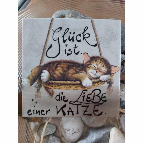 Bild Fliesenbilder UNIKATE 15x15 cm Katze Sprüche Shabby handgeschrieben