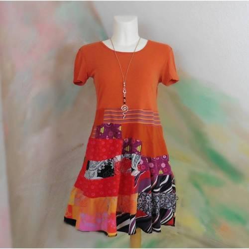 Kleid 44 - 46 Tunika Handmade Upcycling Unikat orange rot lila XL XXL Übergröße Jerseykleid Upcycled dress