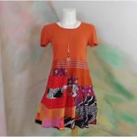 Kleid 44 - 46 Tunika Handmade Upcycling Unikat orange rot lila XL XXL Übergröße Jerseykleid Frühling Bild 1