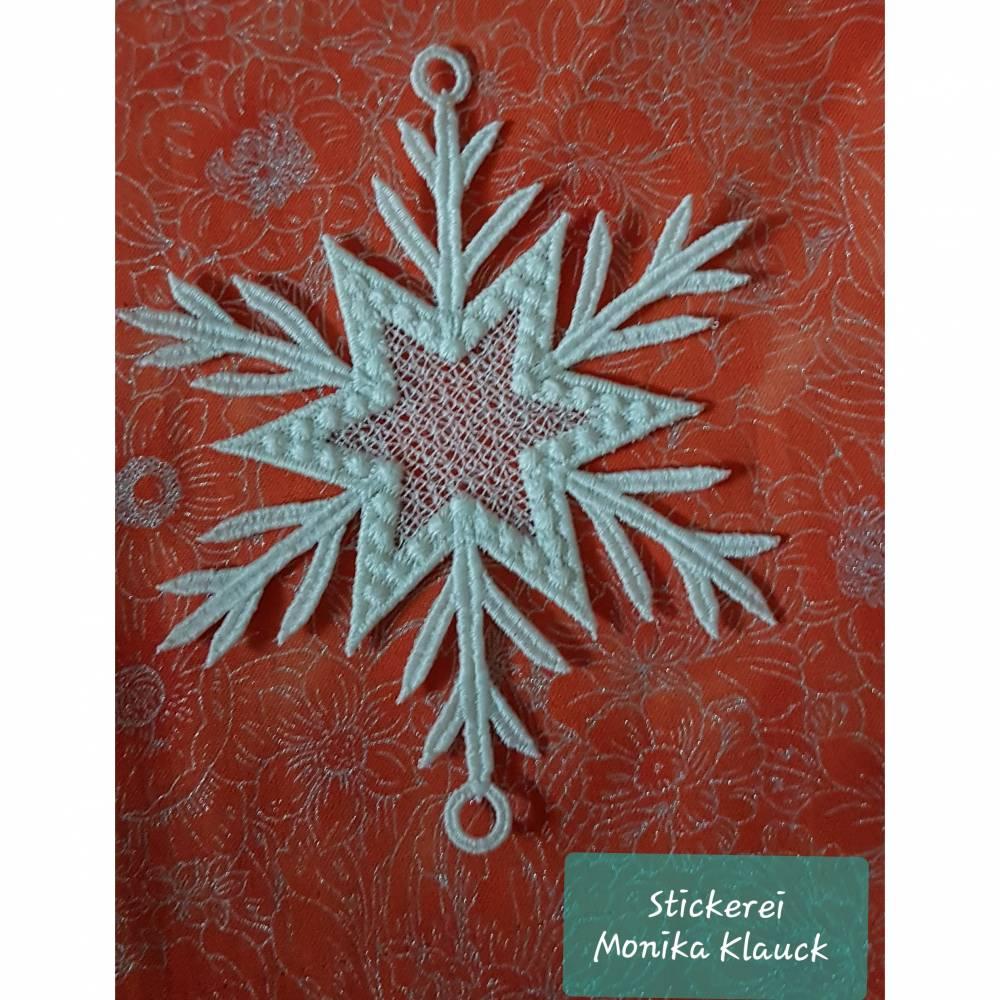 Schneeflocke, cremeweiß , gestickt in Lace-Stickerei Bild 1