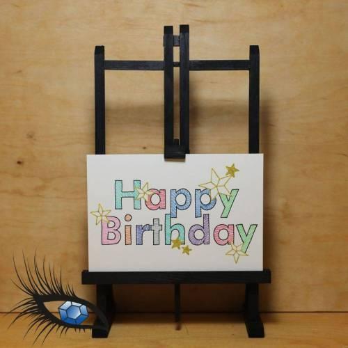 """[2020-0078] DinB6-Klappkarte """"Geburtstag / Happy Birthday"""" - handgeschrieben + handgezeichnet"""