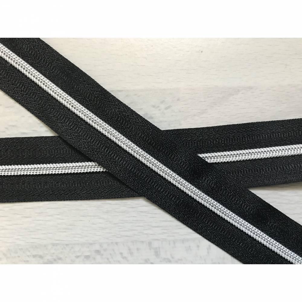 Metallisierter Endlosreißverschluss inkl. 3 Zippern schmal schwarz - Spirale silber Bild 1