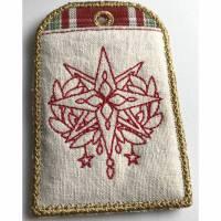 Weihnachten : Geldgeschenk stilvoll verpacken: Bestickter Motiv Geschenkanhänger : wiederverwendbar