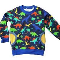 Jungenpullover Langarmshirt Größe 104 - Dinos dunkelblau Bild 1