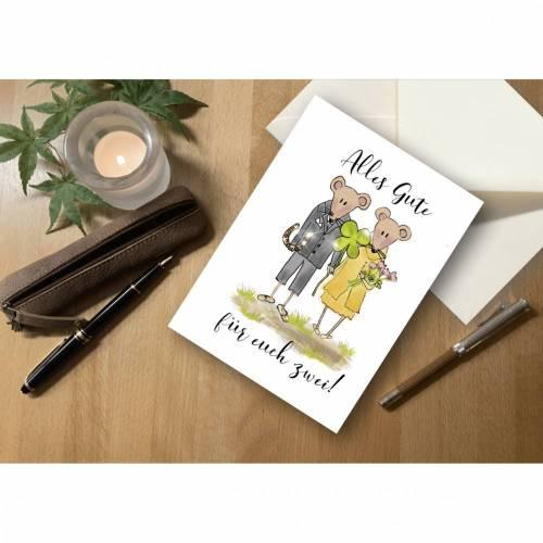 """Briefkarte Hochzeit Mäuse """"Alles Gute für euch zwei!"""""""
