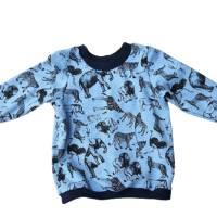 Jungenpullover Langarmshirt - Größe 86 - Safaritiere auf blau Bild 1