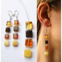 Ohrringe, Amber, poliert, Stein, Mosaik, moderne, junge Mode, Geschenk für sie, Geschenk-Box, Sterling Silber 925, neu,